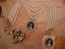 Gothic WIde pearl choker with portrait pendant and Drop chandelier earrings