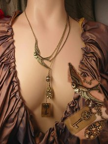 Vintage Religious Saint Esprit Holy DOve chatelaine necklace Lords Prayer fob