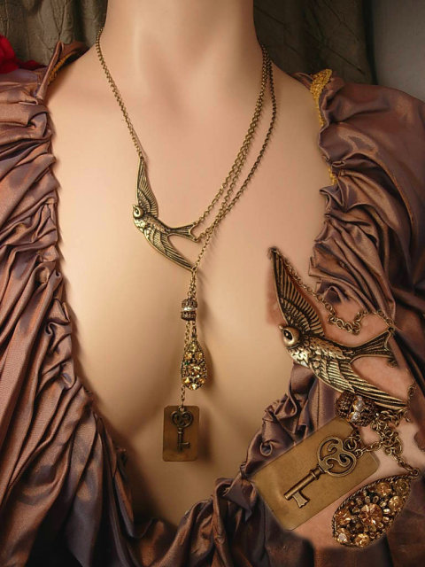 Vintage Religious Saint Esprit Holy DOve chatelaine necklace Lords Prayer fob