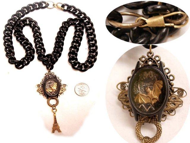 Gothic Last Kiss in Paris morbid macabre memento miniature fob necklace Shrine Reliquary