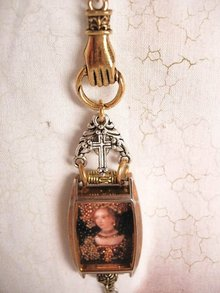 Jeweled Miniature portrait renaissance queen encased in glass Reliquary Shrine necklace with religious medals assemblage