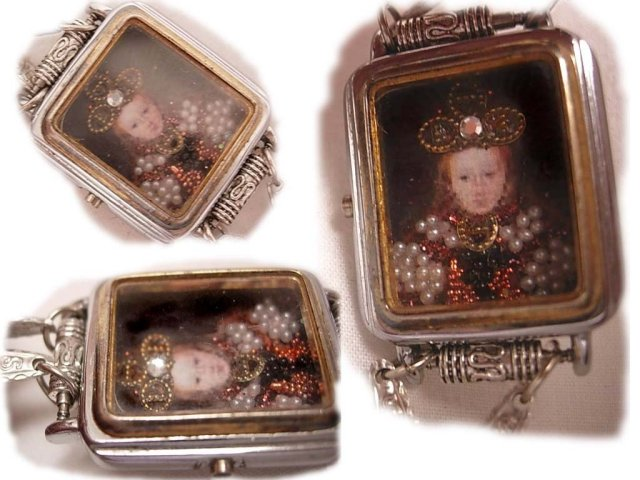 Jewelled Miniature portrait of Renaissance Queen with crown under glass necklace