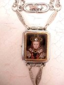 Jewelled Miniature portrait of Renaissance Queen with crown under glass necklace