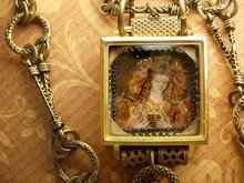 Painted miniature portrait jeweled Reliquary Shrine necklace Sterling medals and pearl fobs and more