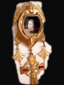 Miniature child Prince portrait necklace renaissance medieval gothic chandelier Reliquary rhinestone