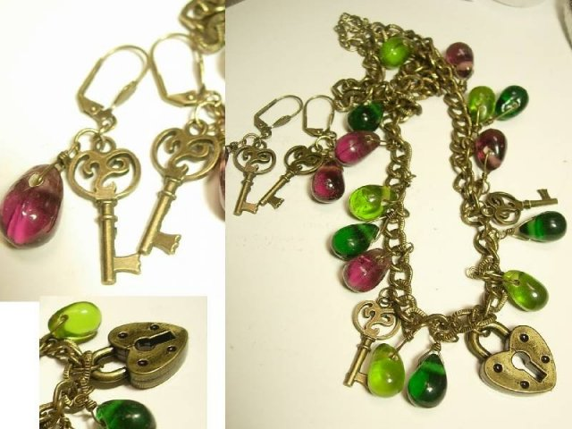 Bohemian Chic Padlock and key Glass Drop Necklace