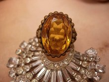 Antique CZECH huge topaz GLASS filigree RING OLD