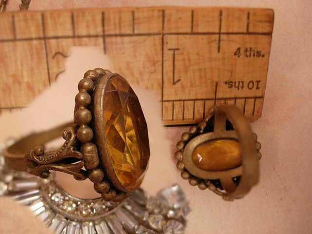 Antique CZECH huge topaz GLASS filigree RING OLD
