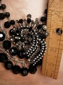 HUGE Black Festoon Rhinestone Collar necklace and earrings