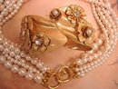 FLirty 6 stand pearl necklace and Flower clamper bracelet