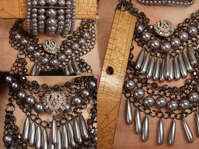 Statement Chandelier necklace HUGE bracelet EDWARDIAN style DRAMATIC
