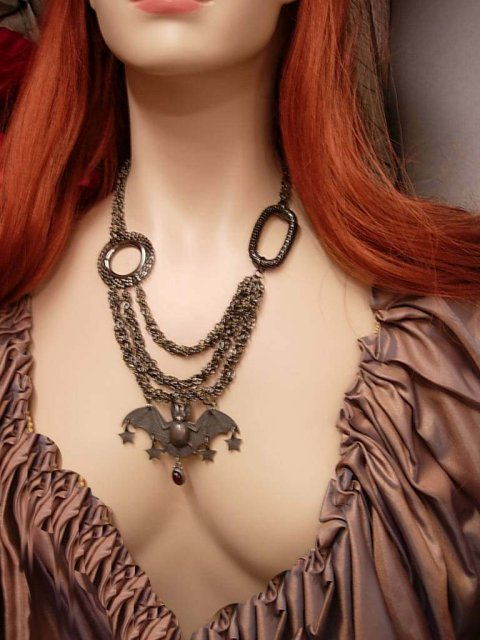 Bat necklace Gothic Jewelled Vampire Bats in her belfry