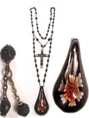 Antique gothic BLack France depose necklace with red glass rose drop and black crucifix