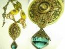 Bohemian Crystal semi PRecious Gothic chandelier OOAK huge DRAMATIC Medallion necklace