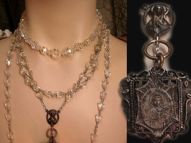 ANtique French Rosary necklaces Gothic sterling Glass and antique medal
