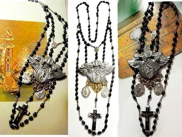 Gothic Cross Chandelier necklace sterling medals rich black swags
