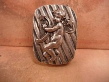 ANtique STerling Box Cherub hidden compartment miniature