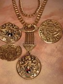 Antique Bacchus jeweled locket necklace bookchain and brooch