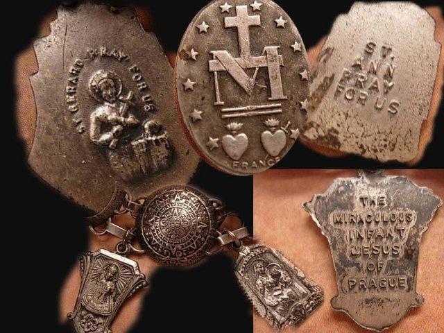 Vintage Sacred French Medals Sterling Bracelet Signed