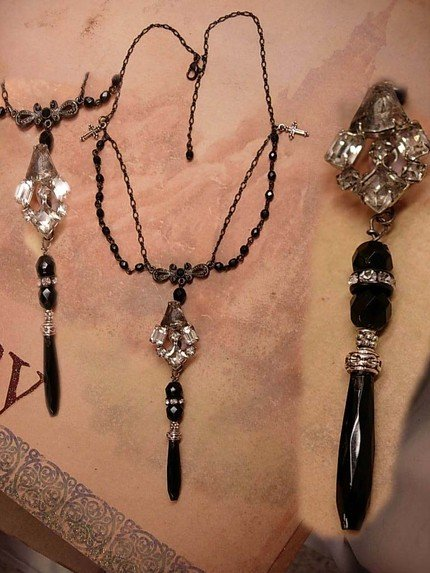 Old rosary beads and Vintage Rhinestone drop necklace