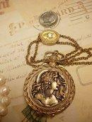 Exotic Mucha Nouveau goddess pocketwatch scent locket on jeweled slide chain