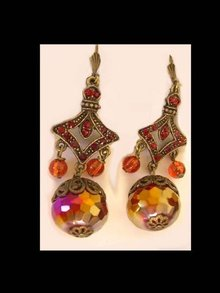 Huge FIREBALL Crystal Gypsy Ruby glass BIg Drop earrings