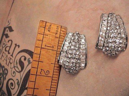 Amazing vintage Drama Queen HUGE rhinestone earrings