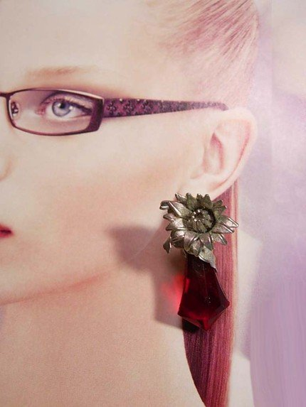 Vintage chunky RED prism flowered over the top earrings