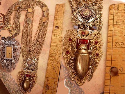 Bizarre Egyptian Scarab jeweled swag necklace dripping in chains