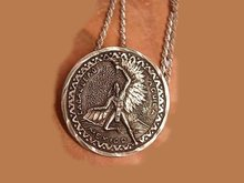 1950's Sterling Caballero Winged Indian Coin Necklace SIGNEd and hallmarked
