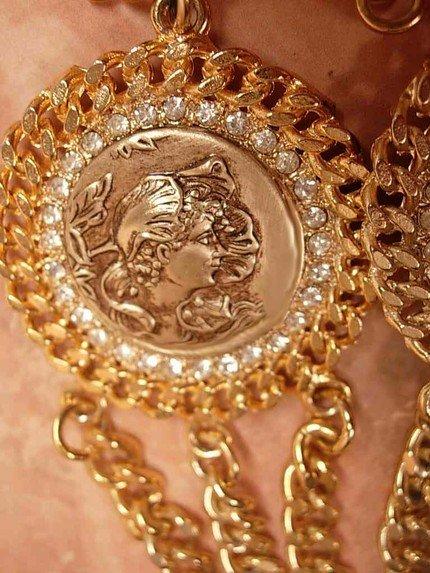 GOthic revival medallion thick chain necklace with nouveau faces
