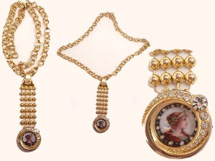 Vintage Miniature seed pearl portrait rhinestone watch fob necklace Young Queen