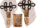 VIntage 1897 Louisiana Rag Huge charm watch fob brooch with miniature glass cased music