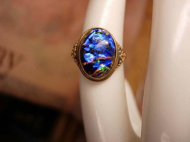 Vintage Art Deco Black OPAL Egyptian Revival Ring
