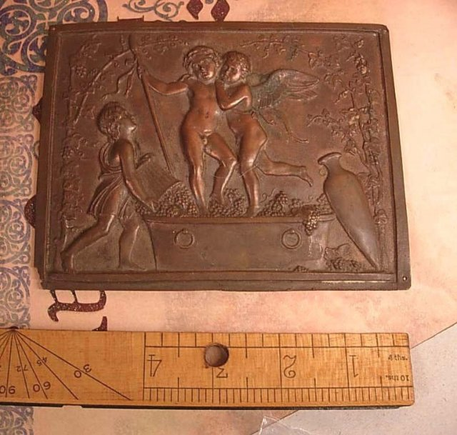 Rare Antique Bronze Cherub Coffin Plate Late 1800's plaque