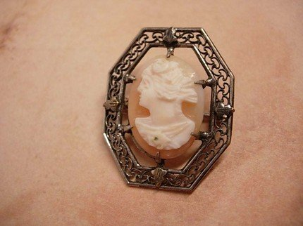 Victorian sterling Hallmarked Cameo Brooch with filigree frame