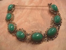 1920's DEco Chrysoprase Filigree gilt silver ornate bracelet