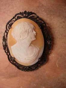Antique sterling Flapper genuine carved cameo with marcasites BRooch