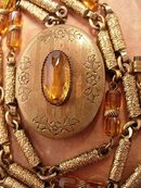 ANtique Art Deco Golden citrine Locket necklace