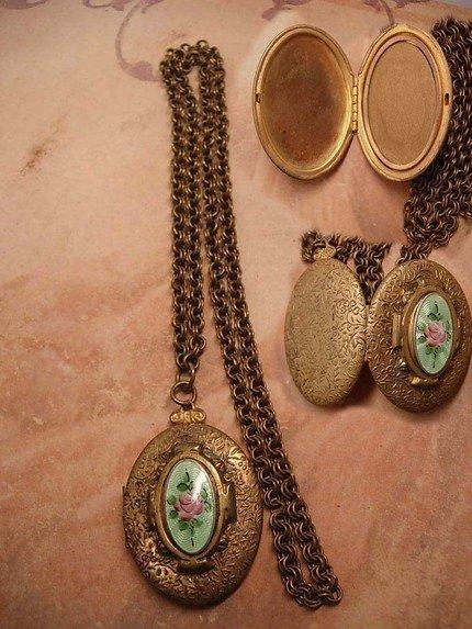 Antique deco Guilloche enamel Locket necklace JUST GORGEOUS