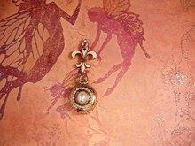 Vintage DEco Enamel pocketwatch locket and Fleur de lis Brooch