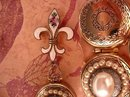 Vintage DEco Enamel pocketwatch locket and Fleur de lis Brooch