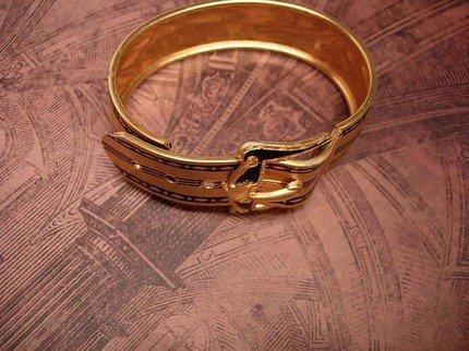ANtique Enamel Mourning Victorian Buckle Bracelet