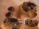 Baroque vintage Victorian Revival jeweled bracelet earrings and RING parure