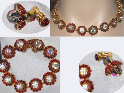 Fabulous WEiss signed Aurora borealis FLorette Necklace bracelet and earrings