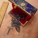 Vintage silk Rosary case with rosary and medal