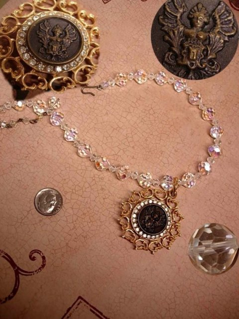 ANtique Nouveau jeweled Angel Crystal choker Necklace