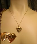 1920s Art DEco Cherub locket Sweetheart heart necklace