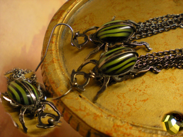 SIgned Aesthetic Scarab Earrings