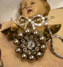 Vintage French Saint PEarl and rhinestone icon necklace